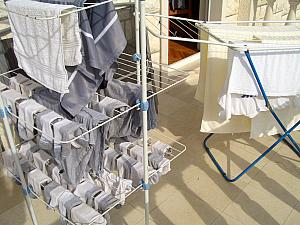 Here's an example of how we hang our laundry to dry out on our balcony. At least when it's warm/sunny outside. Most of the last two months, we have instead hung the laundry inside.