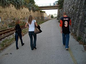 Walking to Stella Mares on a warm Sunday in October, decked out in my Carson Palmer jersey!