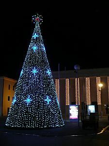 The christmas tree/cone on display in town, by the theater