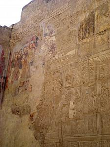 The Christians covered the Egyptian carvings on this wall with their own mural -- only a little bit of it remains in the top left section.