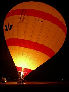 A hot air balloon getting filled up, at 4:30am!