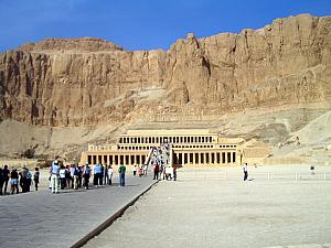 Hatshepsut's Temple. This amazes me - it almost looks contemporary, but it's thousands of years old. Pharaoh Hatshepsut was one of the only female pharoahs, and the one who ruled the longest  and the most famous of the Ancient Egyptian Empire (Cleopattra came during Greco-Roman Empire)