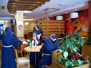We walked into the KFC / Pizza Hut restaurant to see KFC overrun by about 25 nuns! Made us smile.