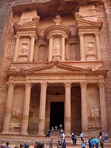 Just at the end of the Siq is the Al Khazneh (the Treasury). This is the most impressive of Petra's ruins. It's amazing to see, directly coming out of the Siq.