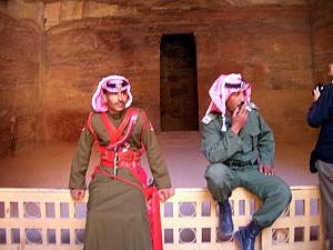 Guards blocking your entryway into Al Khazneh. Apparently, that grand facade only has this one room that goes back 30 feet (unlike in Indiana Jones where there is vast chambers and booby traps and the like).