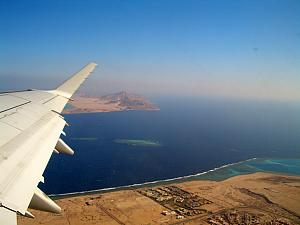 On our flight back home. Looking out at the Red Sea from Sharm.