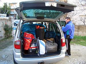 We stuffed the minivan with all of our belongings -- we sure accumulated a lot of stuff over a few months! It actually took two trips, though the second trip was sparse and just bigger/unwieldy items.