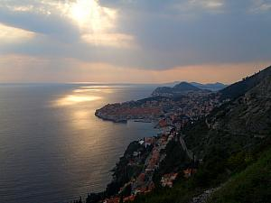 View of Dubrovnik from a viewpoint just south of town, just before sunset.
