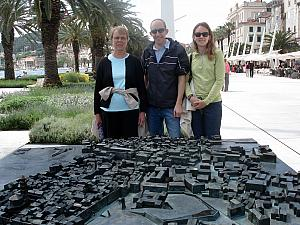 Jean, Jay and Kelly in front of the model of Split's old town.