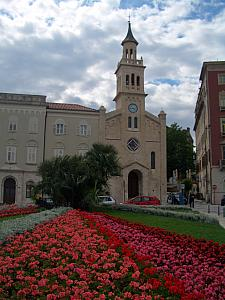 Svete Frane church with flowers.