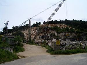 At a rock quarry - Brac is famous for its marble.