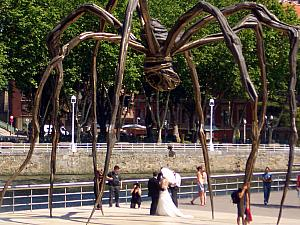 Apparently it is popular for wedding couples to get their photo taken underneath this giant spider -- awesome!
