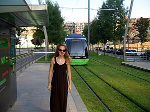 Catching the tram back to Bilbao's train station -- too hot for a 30-minute walk back :)