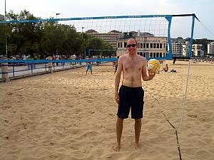 We got to play doubles sand volleyball!