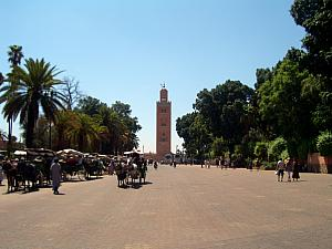 Koutoubia mosque as seen from the edge of Djemaa el fna (the main square) in Morcco's old town - the medina.