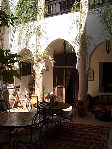The center of our Riad was a courtyard open to the sunlight. This is where we breakfasted every morning.
