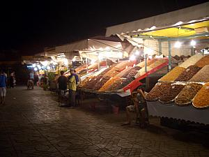 Stalls selling all sorts of nuts and seeds.