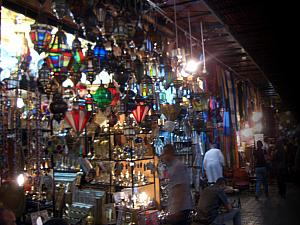Many shops in the market sold beautiful stained glass lamps and chandeliers.