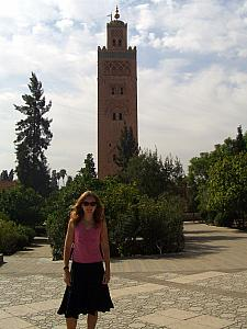 Kelly in front of the Koutoubia mosque.
