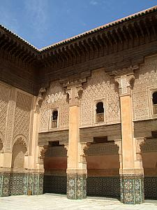 Visiting Ben Youssef Medersa, a 16th century Koran school. Completely covered with carvings and mosaics. Very beautiful.