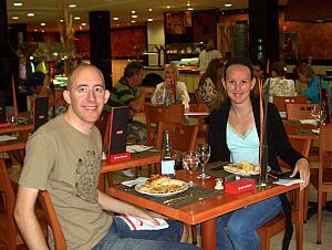 Our 55 euro hotel included buffet breakfast and buffet dinner - here we are getting ready to eat dinner.