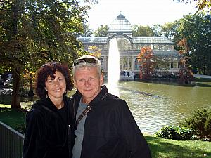 Mom and Dad in front of the Crystal Palace in Retiro Park