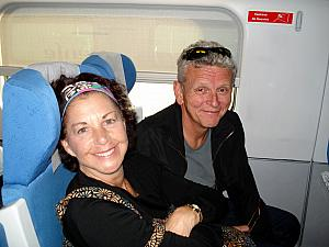 Mom and Dad in their train seats