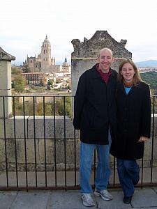 Jay and Kelly atop the castle, with the cathedral in the background