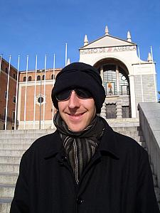 Jay in front of Museo de America, keeping warm.