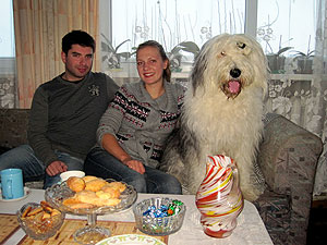 Mario, Milda and Baris Bariukas, Milda's family's sheepdog - he was always happy, and even thought he was a lap dog!