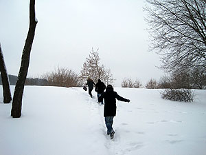 Walking through the snow in a park in Kaunas, Lithuania