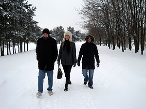 Jay, Milda and Mario posing for a snowy photo