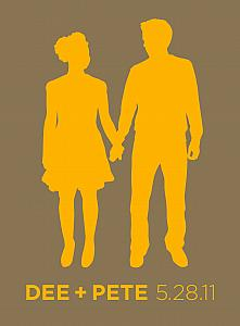 Kelly created this silhouette of Dee and Pete for their wedding