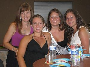 Kelly, Jen, Allison, and Dee at Allison's bachelorette party