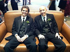 Adam and Jay resting after the ceremony and their taxing duty of reverse-ushering the pews after the ceremony.