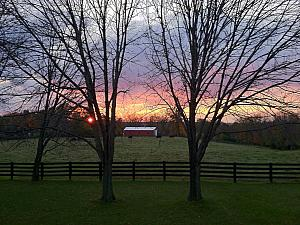 A pretty sunset overlooking the farm behind Kelly's parents house, where we are living right now.