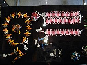Kelly liked this jewelry made out of zippers in one of the shops.