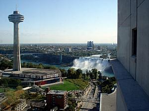 Viwe from our hotel window!! We booked our hotel in Niagara Falls through Priceline, and started off with a dark and depressing room with a fantastic view of...another wall. Kelly worked her magic and got us a free upgrade to a falls view room. Fantastic!