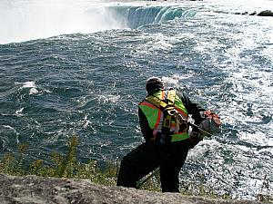 On Thursday, we visited the falls up close and personal - though not quite as close as this guy, what a job! He's about 2 feet from the water, about 40 feet from the falls. And yes, he is fastened to a railing with climbing gear.