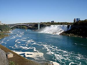Niagara Falls has two separate waterfalls separated by an island - here is the American Falls - typically much clearer with less mist.