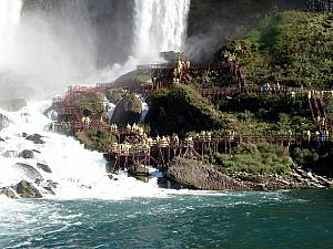 Next to the American Falls is a series of scaffolding allowing tourists to get up close and personal with the falls -- this tour is called the Cave of the Winds, though you don't go through any caves...