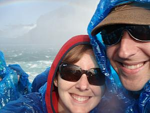 On the Maid of the Mist -- getting soaked in the basin of the Horsehoe Falls! Part of your ride fee includes the blue ponchos.