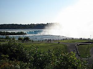At a park with the up close view of the Horseshoe Falls