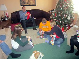 Christmas Eve at Jay's Parents house, opening up gifts