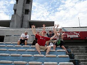 Montevideo, Estadio Centenario - it's a GOOOAALLLLL! (Dad Klocke is rooting for the other team. Or sleeping.)