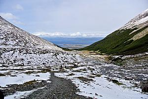Ushuaia - hiking in the Martial Glacier valley, looking back towards the sea.