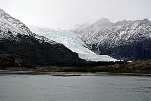 Sailing through the Chilean Fjords - a glacier.