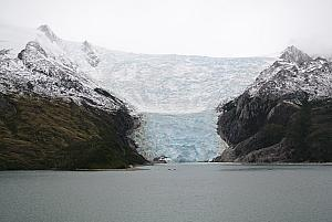 Sailing through the Chilean Fjords - a glacier!