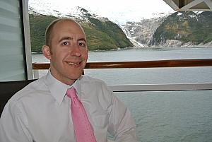 Sailing through the Chilean Fjords - a glacier - as seen from our stateroom balcony.