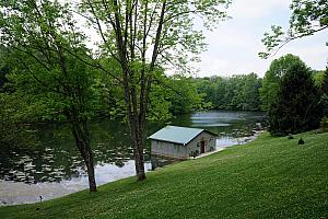 View of the dock and lake at our cabin -the Woodland Retreat, just outside the thriving metropolis of Laurel, Indiana.